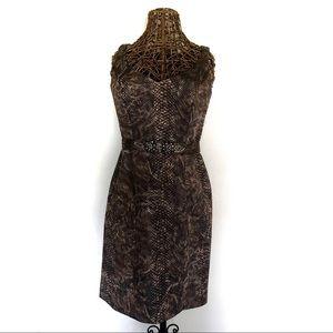 Rickie Freeman Teri Jon Reptile Pencil Dress
